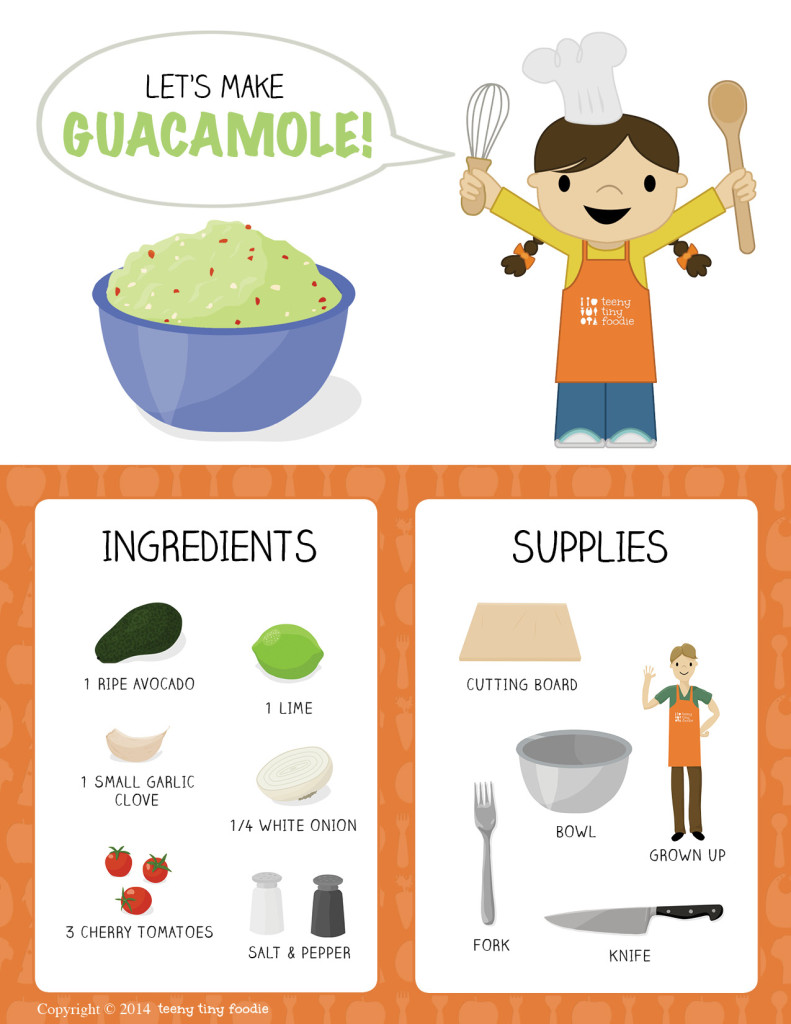 Let's Make Guacamole! from teeny tiny foodie is a free printable #toddler #recipe written for toddlers and kids to follow with support of a grown up. #kidscancook #kidsinthekitchen #toddlerscancook