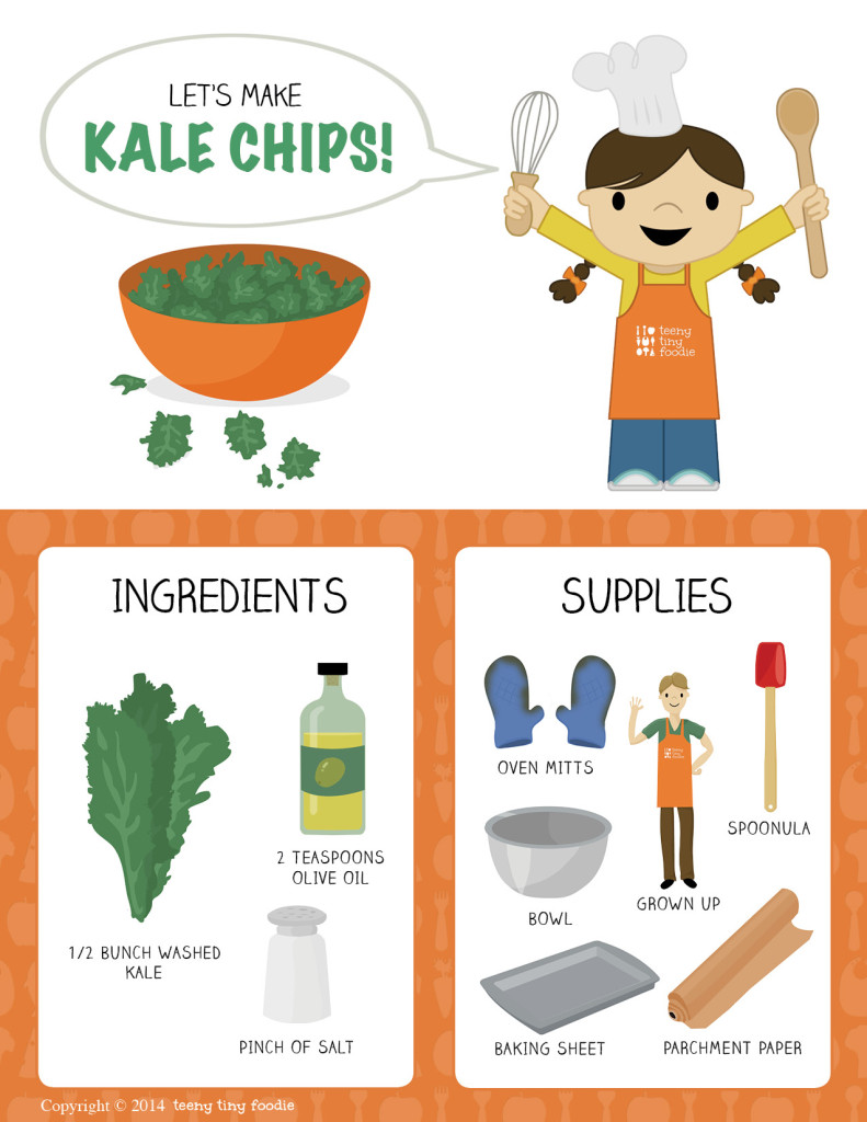 Let's Make Kale Chips! (page 1) from teeny tiny foodie is a free printable #toddler #recipe written for toddlers and kids to follow with support of a grown up. #kidscancook #kidsinthekitchen #toddlerscancook #teenytinytoddlerrecipe