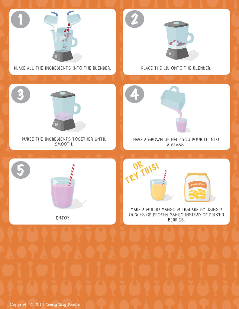 Let's Make a Fruity Milkshake! (page 2) from teeny tiny foodie is a free printable #toddler #recipe written for toddlers and kids to follow with support of a grown up. #kidscancook #kidsinthekitchen #toddlerscancook #teenytinytoddlerrecipe #Valentines #dessert