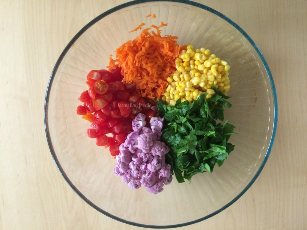 Rainbow Pasta from teeny tiny foodie is an #easy, #healthy, #delicious #recipe your kids can help you make! #vegetarian #kidsinthekitchen #toddlerscancook