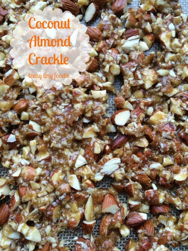 Coconut Almond Crackle from teeny tiny foodie. This #vegan #candy recipe has no corn syrup and is so easy to make, your kids can help you! #KidsCookMonday #toddlerscancook #almonds #kidsinthekitchen #lemon #coconut