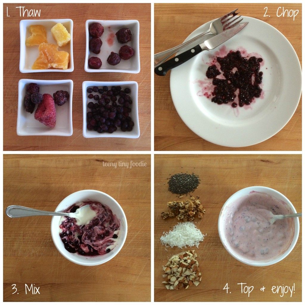Fast Fruity Yogurt from teeny tiny foodie takes just 4 easy steps to make! The only planning you need to do is to thaw your frozen fruit the night before. Avoid extra sugar, salt and preservatives by making your own fruity yogurt! #healthy #yogurt #fruit #breakfast #healthyfastfood