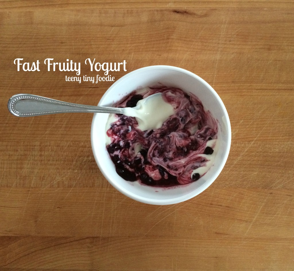 Fast Fruity Yogurt  from teeny tiny foodie is a #healthy and #easy recipe alternative to store-bought fruit yogurt. Cut down on salt, sugar, preservatives and more when you make your own fruit yogurt! Read this post to learn the 4 easy steps to making this #yogurt. #vegetarian #breakfast #snack