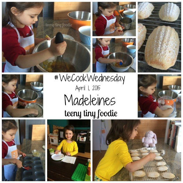 Eliana and I made Madeleines for WeCookWednesday using a recipe from TheKitchn. From teeny tiny foodie #toddlerscancook #kidsinthekitchen