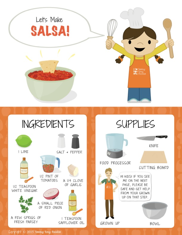 Let's Make Salsa! (page 1) from teeny tiny foodie is a #free printable #toddler #recipe written for toddlers and kids to follow with minimal support from a grown up. #salsa #healthy #vegan #vegetarian #kidscancook #kidsinthekitchen #toddlerscancook #teenytinytoddlerrecipe #CincodeMayo #mexican