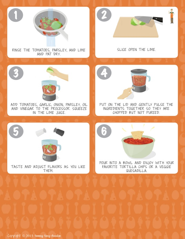 Let's Make Salsa! (page 2) from teeny tiny foodie is a #free printable #toddler #recipe written for toddlers and kids to follow with minimal support from a grown up. #salsa #healthy #vegan #vegetarian #kidscancook #kidsinthekitchen #toddlerscancook #teenytinytoddlerrecipe #CincodeMayo #mexican