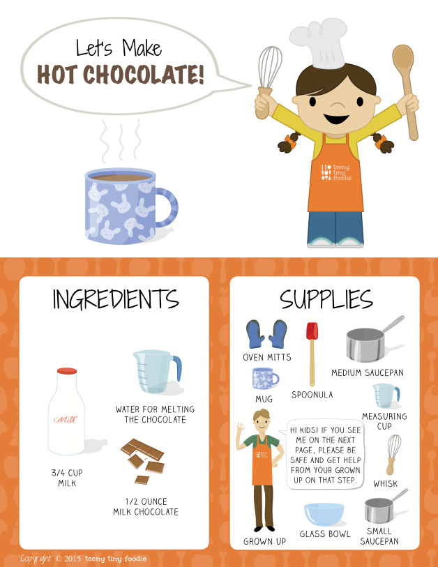 Let's Make Hot Chocolate! (page 1) from teeny tiny foodie is a #free printable #toddler #recipe written for toddlers and kids to follow with support of a grown up. #hotchocolate #dessert #vegetarian #kidscancook #kidsinthekitchen #toddlerscancook #teenytinytoddlerrecipe