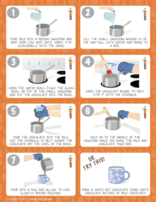 Let's Make Hot Chocolate! (page 2) from teeny tiny foodie is a #free printable #toddler #recipe written for toddlers and kids to follow with support of a grown up. #hotchocolate #dessert #vegetarian #kidscancook #kidsinthekitchen #toddlerscancook #teenytinytoddlerrecipe