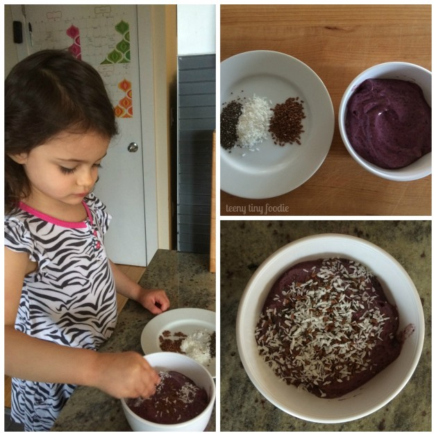 Let your little one get in on the cooking fun! Let her top her own Avocado Blueberry Smoothie Bowl for a customized snack. #teenytinyfoodie #KidsCookMonday