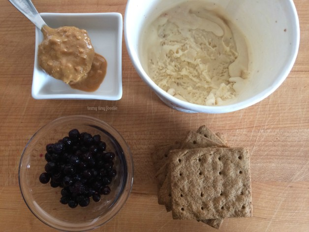 Ingredients for PB&J Ice Cream Sandwiches from teeny tiny foodie. This is a recipe the toddler created all by herself! #teenytinyfoodie