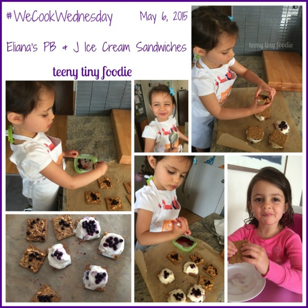 Every Wednesday Eliana chooses something she wants us to make together. We call it #WeCookWednesday. Eliana and I made PB&J Ice Cream Sandwiches-a recipe SHE created all by herself. This Foodie Mama is so proud! I started #WeCookWednesday as a day to honor whatever Eliana wants to cook together. I never imagined it might evolve into cooking the recipes she creates.  For HER recipe E set out the cookies, helped spread peanut butter on top of them, topped everything with blueberries, and put the sandwiches together.  #teenytinyfoodie # #KidsCookMonday #toddlerscancook #kidscancook #kidsinthekitchen #cookingwithkids
