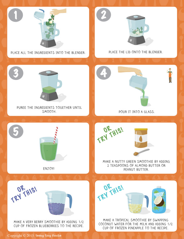 Let's Make a Green Smoothie! (page 2) from teeny tiny foodie is a #free printable #toddler #recipe written for toddlers and kids to follow with minimal support from a grown up. #teenytinyfoodie  #VeggieLove #smoothie #recipeforkids #healthy #vegan #vegetarian #kidscancook #kidsinthekitchen #toddlerscancook #teenytinytoddlerrecipe #KidsCookMonday