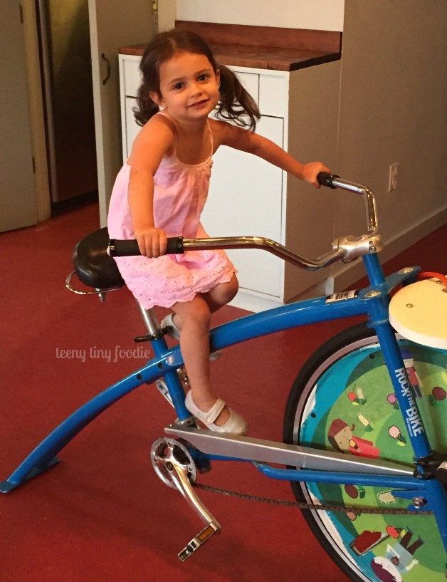 For Eliana's birthday party, we celebrated at Ample Hills Creamery. She got to (try to) ride the ice cream bike.  From #teenytinyfoodie
