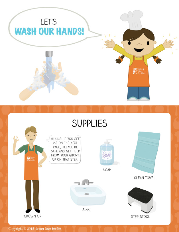 Let's Wash Our Hands! (page 1) from teeny tiny foodie is a #free printable #toddler #recipe written for toddlers and kids to follow with minimal support from a grown up. Visit teenytinyfoodie.com to see more! #teenytinyfoodie #recipeforkids #kidscancook #kidsinthekitchen #toddlerscancook #teenytinytoddlerrecipe #KidsCookMonday