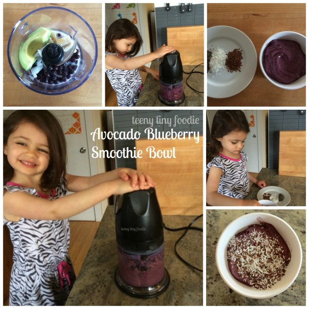 This Avocado Blueberry Smoothie Bowl is packed with anti-oxidants and vitamins that promote a healthy heart. Make one with your little sous chef today! #teenytinyfoodie #KidsCookMonday