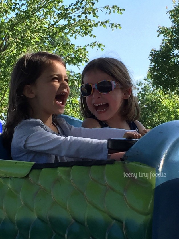 Eliana's first roller coaster ride! She was so excited that she got to share it with her cousin. from #teenytinyfoodie