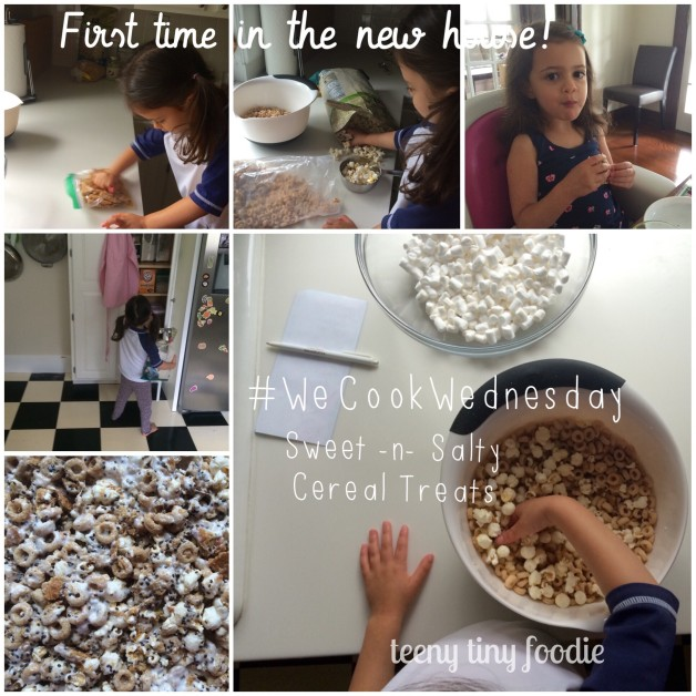 Today was the first official #WeCookWednesday in our new home! To celebrate the event, Eliana and I made Sweet and Salty Cereal Treats. It was so fun to cook together in this new-to-us kitchen. From scooping to measuring to mixing and restocking the shelves my #teenytinysouschef was a rock star in the kitchen. I'm so proud of her! #teenytinyfoodie