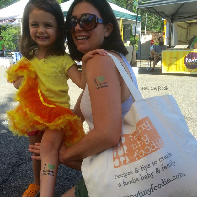 We  Farmers Markets! We missed our @downtoearthmkts day in #larchmontny yesterday so today we headed to Rye to make sure we got farm fresh produce, local fish and country flowers. And, of course, we had to get our tattoos to show our support. Go get yours today! #teenytinyfoodie
