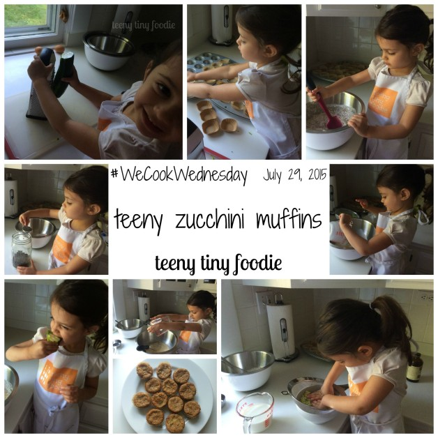 "Happy #WeCookWednesday! Eliana wanted to make ""healthy muffins"" and immediately said, ""We need vegetables."" (Have I brainwashed this kid, or what?? No, I'm not complaining at all!) So today we made our recipe for teeny zucchini muffins. Eliana took over measuring, putting in the liners, grating the zucchini, pouring and stirring. Happy Cooking! #teenytinyfoodie"