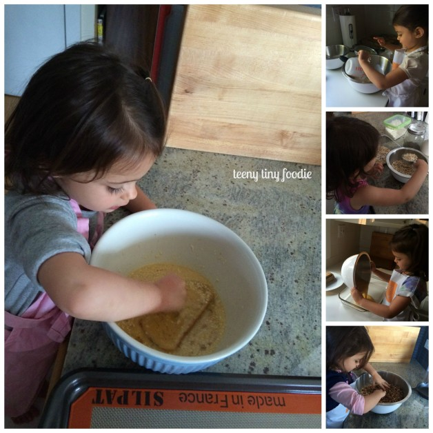 Eliana loves to help me in the kitchen. Here she's helping me make 5 different easy breakfast recipes you can make ahead of time. #teenytinyfoodie