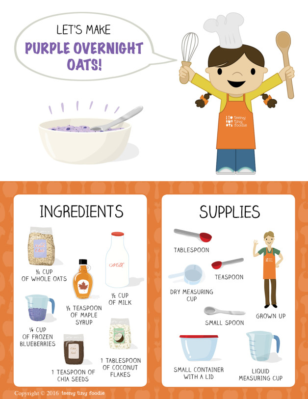 Let's Make Purple Overnight Oats! (page 1) from teeny tiny foodie is a #free #printable #toddler #recipe written for toddlers and kids to follow with minimal support from a grown up. Visit teenytinyfoodie.com to see more! #teenytinyfoodie #recipeforkids #kidscancook #kidsinthekitchen #toddlerscancook #teenytinytoddlerrecipe #KidsCookMonday