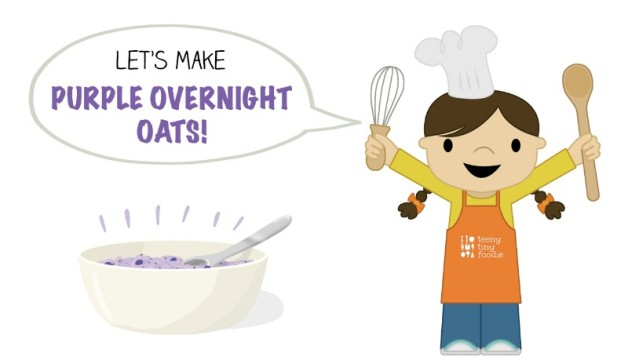 Let's Make Purple Overnight Oats! from teeny tiny foodie is a #free #printable #toddler #recipe written for toddlers and kids to follow with minimal support from a grown up. Visit teenytinyfoodie.com to see more! #teenytinyfoodie #recipeforkids #kidscancook #kidsinthekitchen #toddlerscancook #teenytinytoddlerrecipe #KidsCookMonday