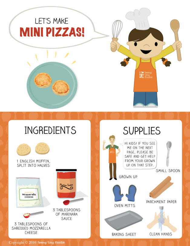 Let's Make Mini Pizzas (page 1) is our latest Toddler Recipe written just for kids! Visit the post to print the full recipe for free! #teenytinyfoodie #teenytinytoddlerrecipes #pizzarecipe #cookingwithkids #kidscookmonday