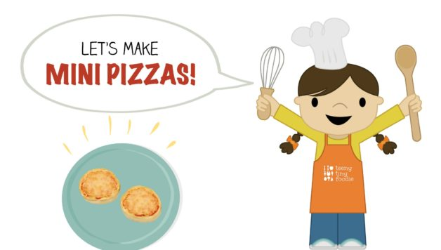 Let's Make Mini Pizzas is our latest Toddler Recipe written just for kids! Visit the post to print the full recipe for free! #teenytinyfoodie #teenytinytoddlerrecipes #pizzarecipe #cookingwithkids #kidscookmonday