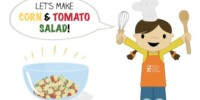 Corn and Tomato Salad is our latest Toddler Recipe written just for kids and it celebrates the end of summer produce of #corn and #tomatoes! Visit the post to print the full recipe for free! #teenytinyfoodie #teenytinytoddlerrecipes #healthykids #healthyrecipe #cookingwithkids #kidscookmonday #summerfood