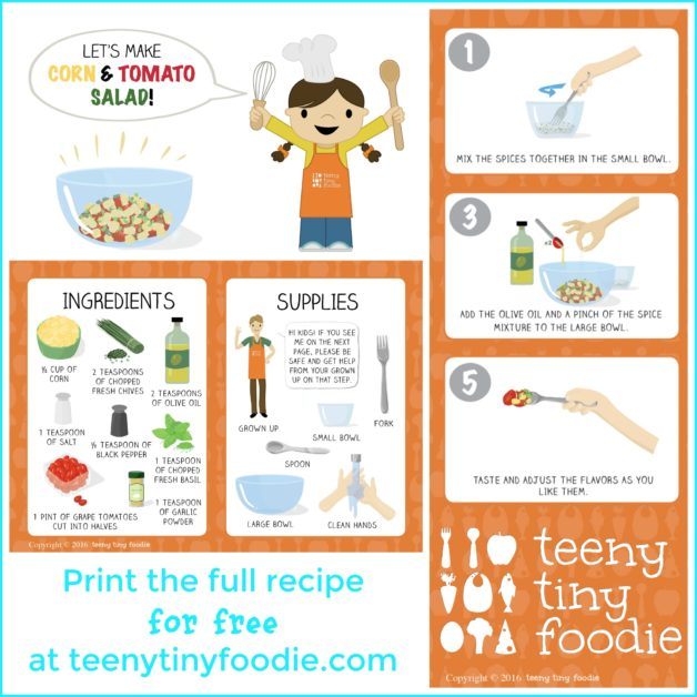 Let's Make Corn and Tomato Salad is our latest Toddler Recipe written just for kids and it celebrates the end of summer produce of #corn and #tomatoes! Visit the post to print the full recipe for free! #teenytinyfoodie #teenytinytoddlerrecipes #healthykids #healthyrecipe #cookingwithkids #kidscookmonday #summerfood
