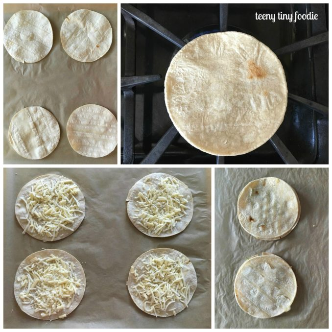 For the Summer Tacadilla, toast your corn tortillas and then make the mini quesadillas.